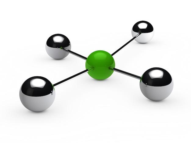 Sfere chrome collegati a una sfera verde
