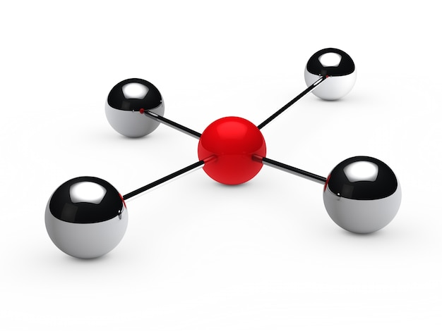Chrome spheres attached to a red sphere