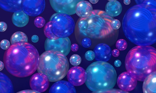 Chrome spheres with reflection of colored neon lights dark bubbles with color gradient