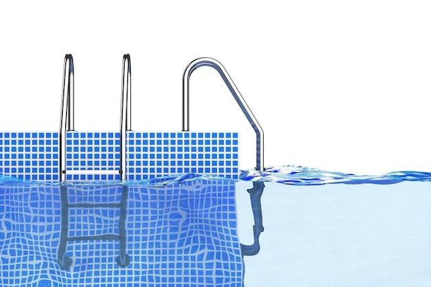 Хромированные лестницы бассейна в воде на белом фоне. 3d-рендеринг.