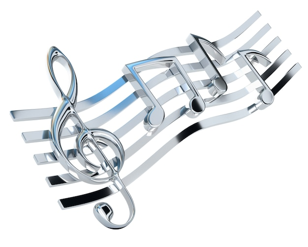 Chromed treble clef and the stave with one-eighth notes