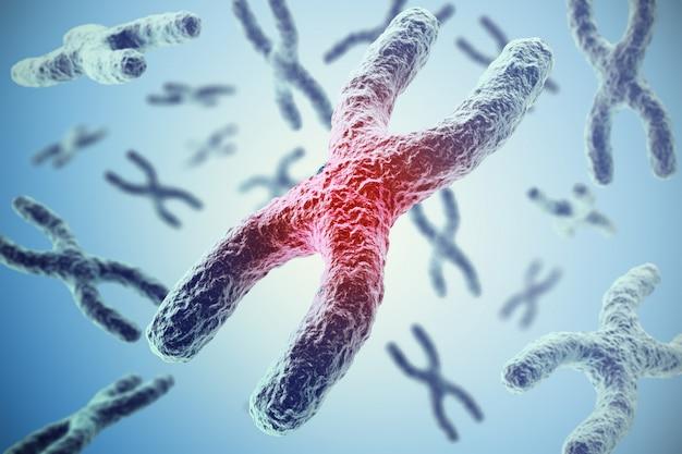 Хромосомы на синем, научная концепция 3d иллюстрации