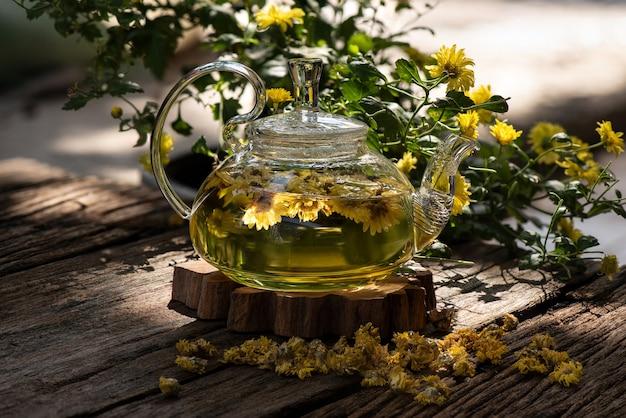 Chrysanthemum flower tea on natural.
