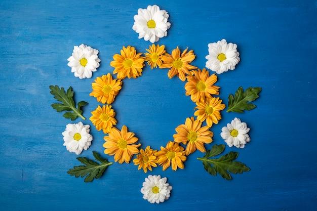 コピースペースのある菊の花。青い背景の花の丸いフレーム