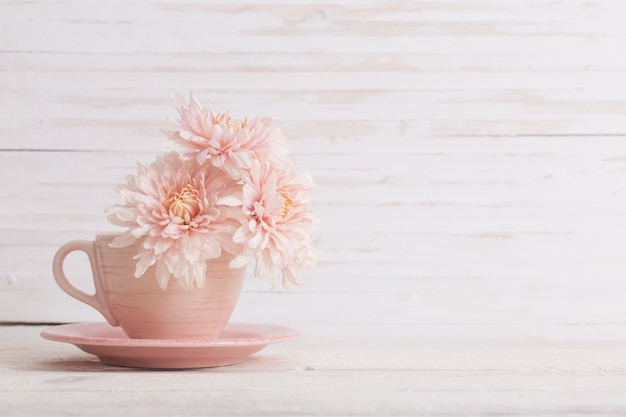 Chrysanthemum in pink cup on white wooden wall