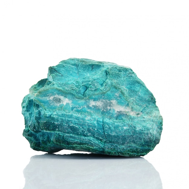 Chrysocolla crystals on white