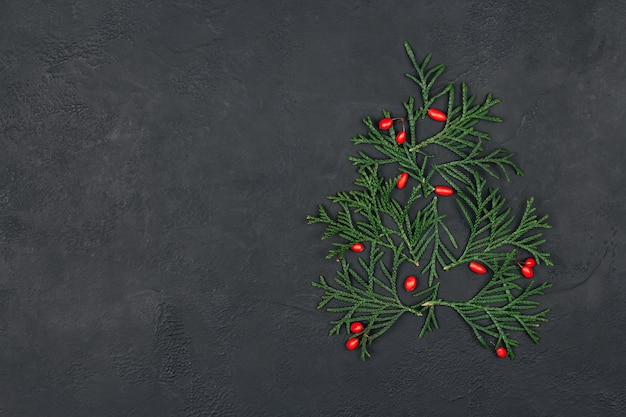 Рождественская елка из зеленых веток и красной ягоды на черном