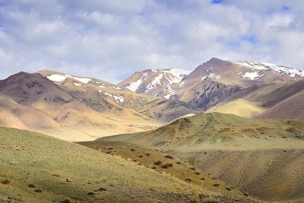 アルタイ山脈のチュイ渓谷朝の陽射しの中の春の草原