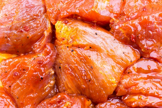 Chunks of barbecue in sauce, texture