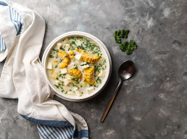 Куриный суп с сыром и кукурузой, chupe de pollo, типичная венесуэльская еда