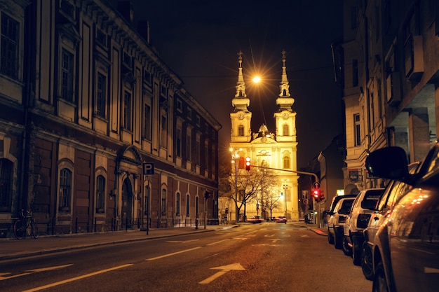 Church in budapest in lights