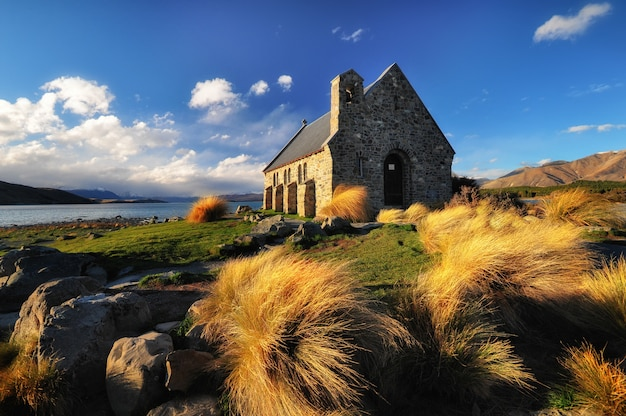 Church of the good shepherd, lake tekapo, new zealand. famous landmark and tourist destination.