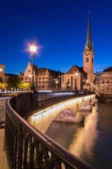 The church of the lady with st peter in zurich during twilight
