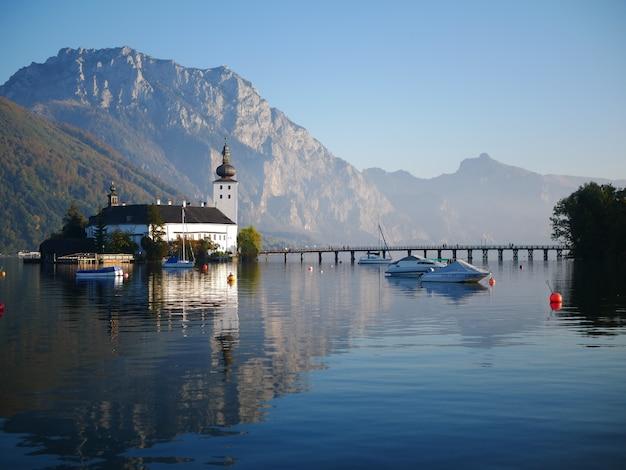 Church on a lake in austria