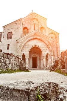Church located racha region of georgia lower svaneti mountains sun flare