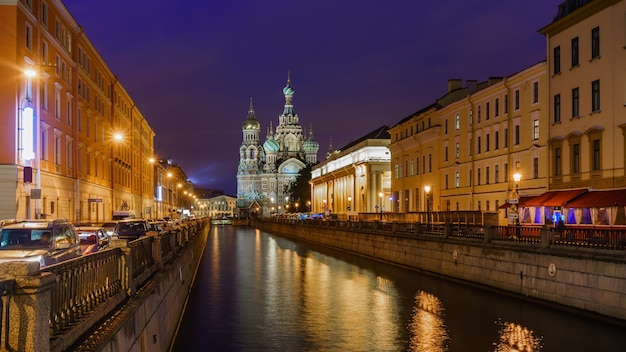 Church of the savior on spilled blood, st. petersburg on griboyedov canal , russia