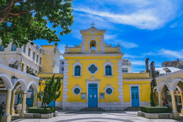 The church of st. francis xavier in the charming village of coloane in macao