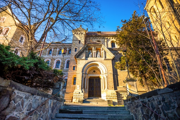 Church of st gabriel or kostel sv. gabriela in prague, street architecture of czech republic
