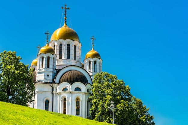 The church of st. george the victorious in fame square -samara, russia