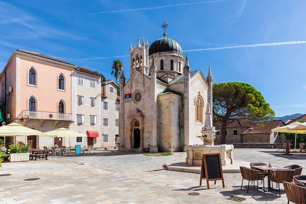 Church of st. jerome and the square in herceg novi, montenegro.