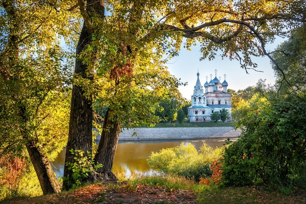 Church of st. john chrysostom in a frame of golden foliage in vologda on a summer sunny day