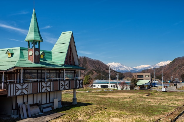 Church with central alps mountain, yamanouchi