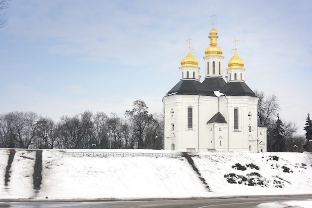 Church with golden domes in winter park