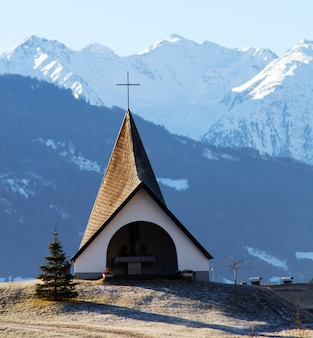 Church with mountains background