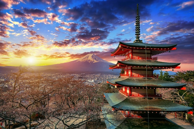 Chureito pagoda and fuji mountain at sunset in japan.