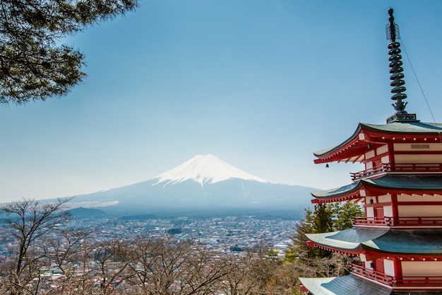 Chureito pagoda and fuji mountain