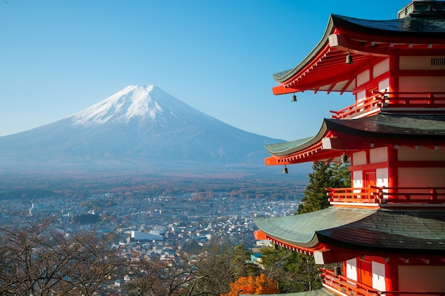 Chureito pagoda and mount fuji in the morning, japan in autumn