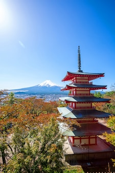 Chureito pagoda and mt. fuji in autumn, japan