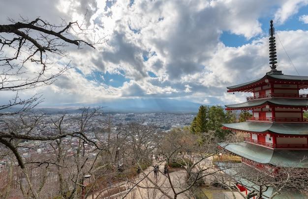 Chureito pagoda and mt. fuji and cloudy blue sky
