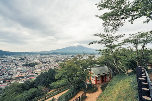 Chureito pagoda and mt. fuji in summer. fujiyoshida, japan