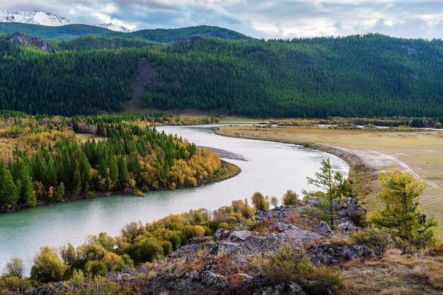 Chuya river valley, autumn mountain landscape. mountain altai, russia