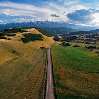 Chuysky trakt road in the altai mountains one of the most beautiful road in the world aerial drone shot