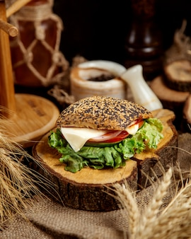 Ciabatta sandwich with cheese and vegetables