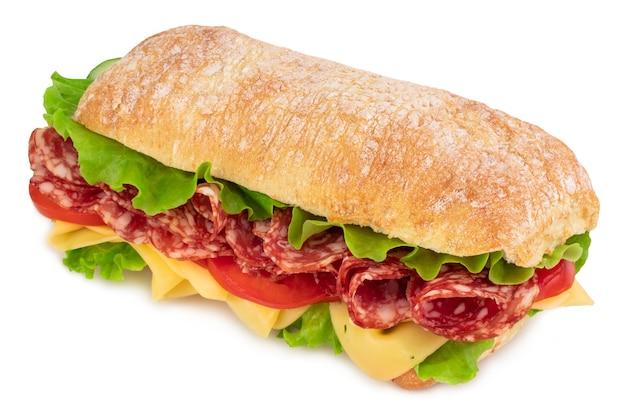 양상추, 토마토 퀴 토 햄과 치즈 화이트 절연 ciabatta 샌드위치.