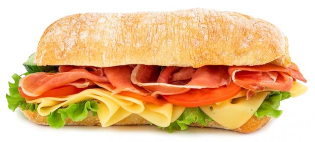 Ciabatta sandwich with lettuce, tomatoes prosciutto