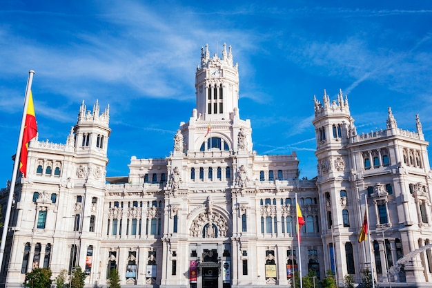 Cibeles palace is the most prominent of the buildings at the plaza de cibeles in madrid, spain