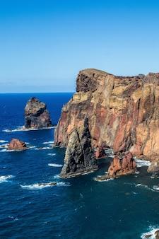 Ciff at the edge of the ocean in ponta do sao lourenco, madeira