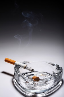 Cigarette in the ashtray