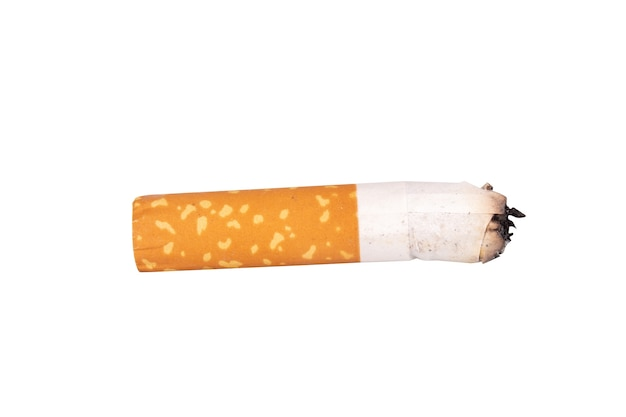 Cigarette butts isolated on white background.