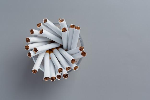 Cigarette on the dark surface.world no tobacco day concept.