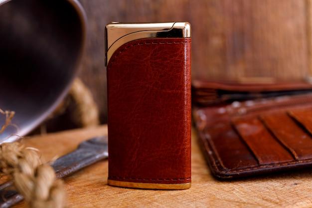 Cigarette lighter on a wood