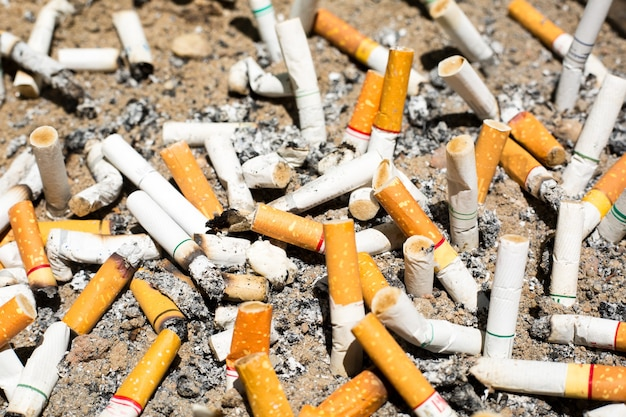 Cigarette stubs on the sand ,butts of cigarettes.