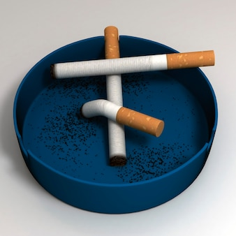 Cigarettes in an ashtray. 3d illustration