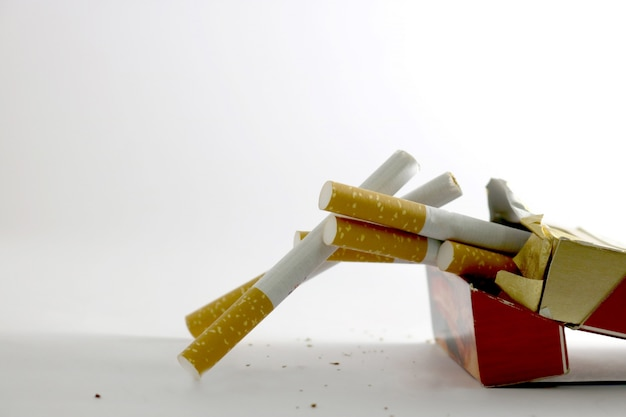 Cigarettes coming out of its box