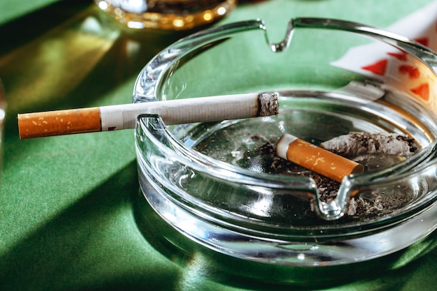 Cigars in an ash tray close up
