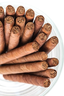 Cigars in the glass on white background